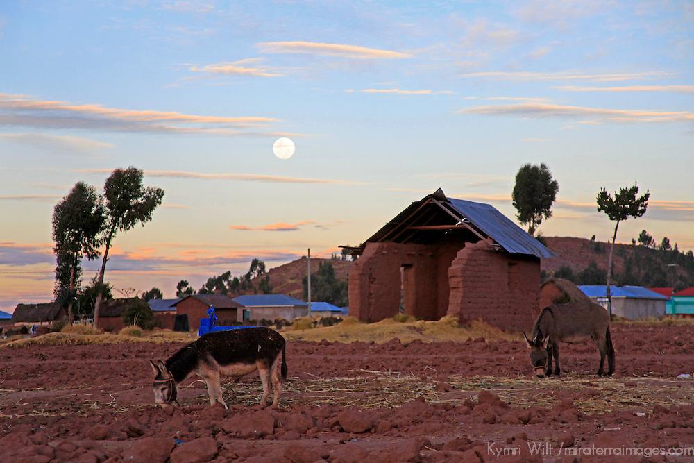 South America, Peru, Laka Titicaca. Full moon (Super moon) rising over the landscape of Lake Titicaca, Peru.