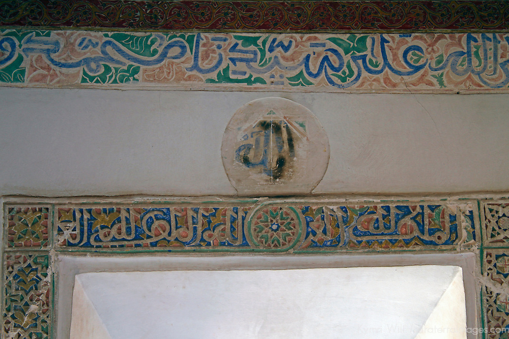Africa, Morocco, Ouarzazate. Plaster decor of room at Taourirt Kasbah near Ouarzazate, historical palace partially restored by UNESCO.