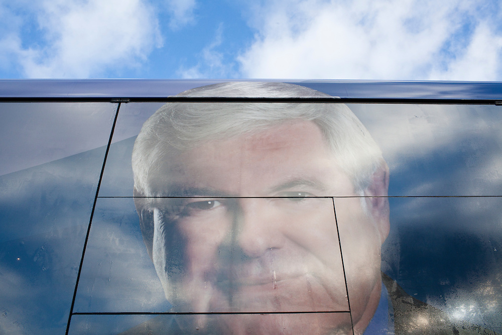 The face of Republican presidential candidate Newt Gingrich on the side of his campaign bus on Tuesday, December 27, 2011 in Dubuque, IA.