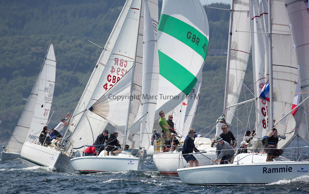 Final days' racing at the Silvers Marine Scottish Series 2016, the largest sailing event in Scotland organised by the  Clyde Cruising Club<br /> <br /> Racing on Loch Fyne from 27th-30th May 2016<br /> <br /> One Design Fleet with K4294, Odyssey II, Harold Hood, RNCYC , GBR7012N, Mad Rafiki, Mark Homer, HSC/CCC, Hunter 707, GBR8856Y, Mayrise, James Miller, Helensburgh SC<br /> <br /> Credit : Marc Turner / CCC<br /> For further information contact<br /> Iain Hurrel<br /> Mobile : 07766 116451<br /> Email : info@marine.blast.com<br /> <br /> For a full list of Silvers Marine Scottish Series sponsors visit http://www.clyde.org/scottish-series/sponsors/