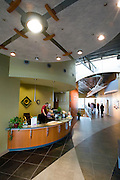 "Greensburg, Kansas, USA..Entrance area of Kiowa County Memorial Hospital...The replacement facility for the Kiowa County Memorial Hospital (KCMH) opened in March 2010 and is licensed for 15 acute-care beds. The new critical access hospital includes a five-provider clinic, a specialty clinic, an emergency department with two trauma rooms, a physical/occupational therapy department, a radiology department, a laboratory, and other support areas, including an on-site daycare facility. The building is attempting to become the first LEED Platinum critical access hospital (CAH) in the nation...""Greensburg: Better, Stronger, Greener!"".On May 4, 2007, an EF5 tornado cut a 1.7-mile path of destruction through Greensburg, Kansas. Winds reaching speeds of 205 miles per hour uprooted trees, demolished homes and leveled the town. Eleven people died and 95% of the buildings were destroyed beyond repair. Residents have since worked furiously to rebuild it in a way that is both economically and environmentally sustainable and to meet the highest environmental standards. Greensburg, whose population has dropped from about 1400 to 800 following the storm and is now growing again, is currently the greenest town in America and the first in the United States to pass a resolution to certify that all city-owned buildings earn LEED Platinum accreditation, the highest level of the LEED rating system...Foto © Stefan Falke"