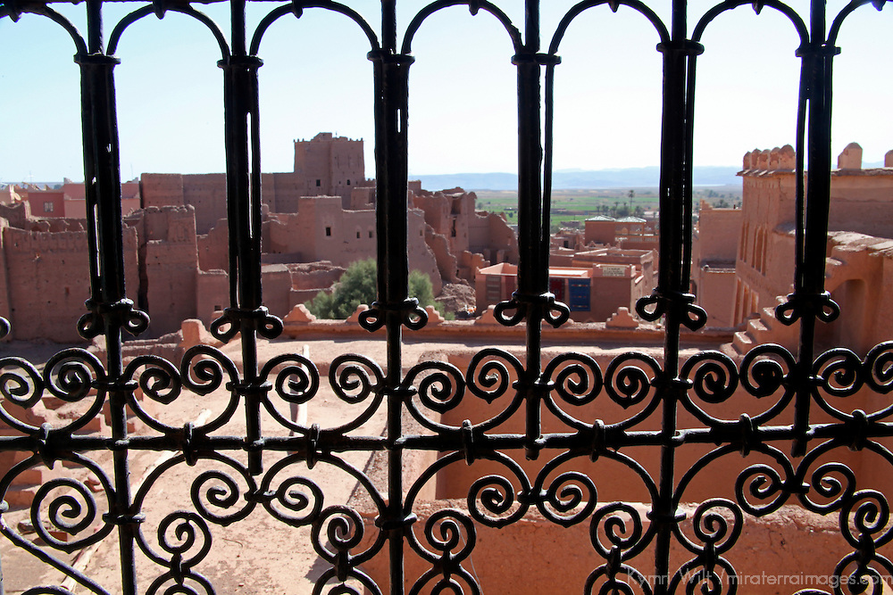 Africa, Morocco, Ouarzazate. View from Taourirt Kasbah near Ouarzazate,  historical palace partially restored by UNESCO.