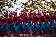 Spiderman blow up toys lined up together