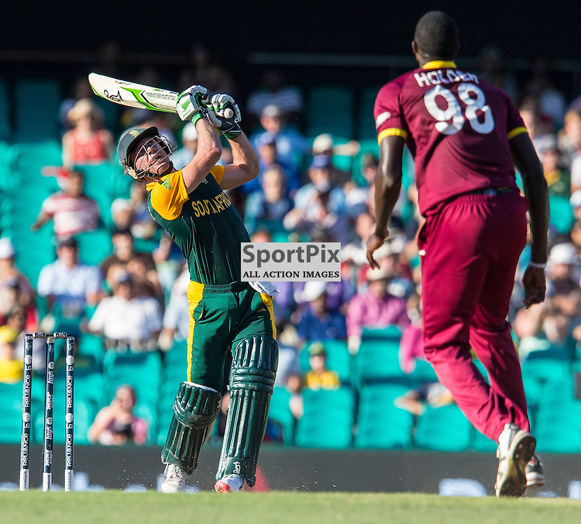 ICC Cricket World Cup 2015 Tournament Match, South Africa v West Indies, Sydney Cricket Ground; 27th February 2015<br /> South Africa&rsquo;s AB De Villiers hits a ball high into the air