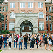 The Gonzaga community welcomes the Class of 2019 as students walk to the Academic Convocation. (Austin Ilg photo)