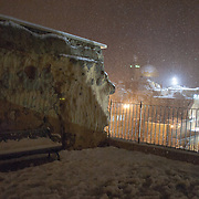 View of Dome of the Rock in Jerusalem's Old City seen  on a snowy night. December 14, 2013.  Photo by Oren Nahshon