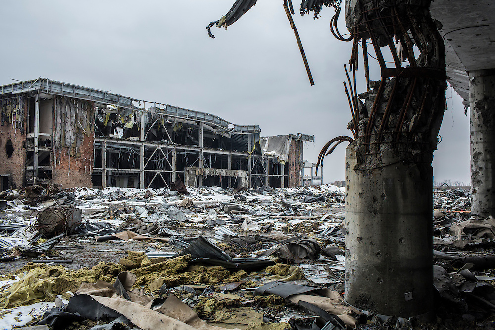 The ruins of the Donetsk Airport on Tuesday, March 22, 2016 in Donetsk, Ukraine.