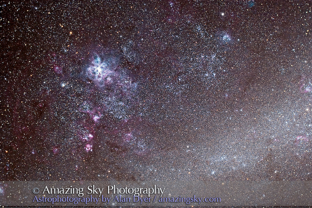 Large Magellanic Cloud, NGC 20870 Tarantula Nebula area (east end of LMC). Taken March 19, 2007 from Coonabarabran, NSW, Australia. Taken with Canon 20Da and Astro-Physics 106mm apo refractor with telecompressor at f/4.5 and ISO 400 for stack of 1x 12 + 4 x 10 minute exposures under warm conditions.