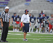 Head coach hugh Freeze watches Ole Miss football practice at Vaught-Hemingway Stadium in Oxford, Miss. on Saturday, August 18, 2012.