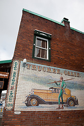 """Truckee, Calif Mural"" - This mural on a brick wall was photographed in Downtown Truckee, CA."