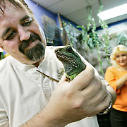 Ian Stewart/Yukon News<br /> Alex Gresl holds a water dragon at Fin and Gill Aquatic Supplies in Riverdale, while his wife Gail looks on. Yukon Electrical plans to cut off the store's power this Friday. Gresl is behind on his bills.