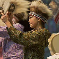 The Mount Edgecumbe Yup'ik Dancers at the Alaska Federation of Natives Convention in Anchorage. AFN, held each October, is a great opportunity for Alaska's Native people from all regions of Alaska to meet, discuss issues, and set policy. Highlights of the event include traditional Native dancing exhibitions and the AFN Crafts Fair.