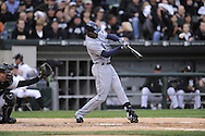 CHICAGO - October 6:  B.J. Upton of the Tampa Bay Rays connects for his 2nd home run of the game in the 3rd inning during the game against the Chicago White Sox at U.S. Cellular Field in Chicago, Illinois on October 6, 2008.  The Rays defeated the White Sox 6-2 to advance to the ALCS.  (Photo by Ron Vesely)