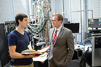 Dr. Jacob Jones, Director, Analytical Instrumentation Facility, with a graduate student at the Titan Microscope on Centennial Campus. Photo by Marc Hall
