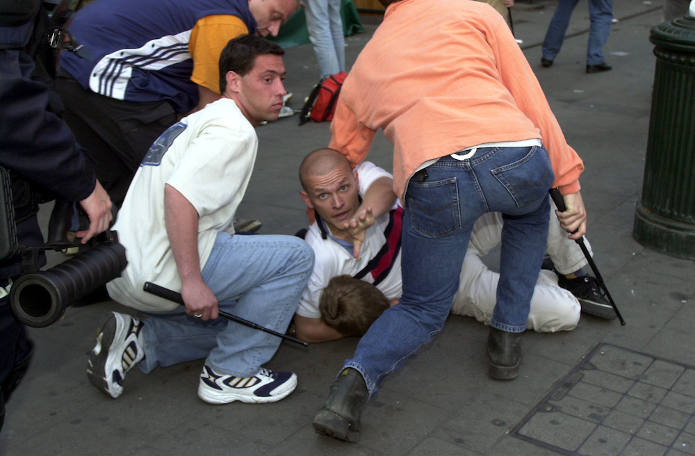 English fans arrested in brussels after clashes with police during the Euro 2000 Championships