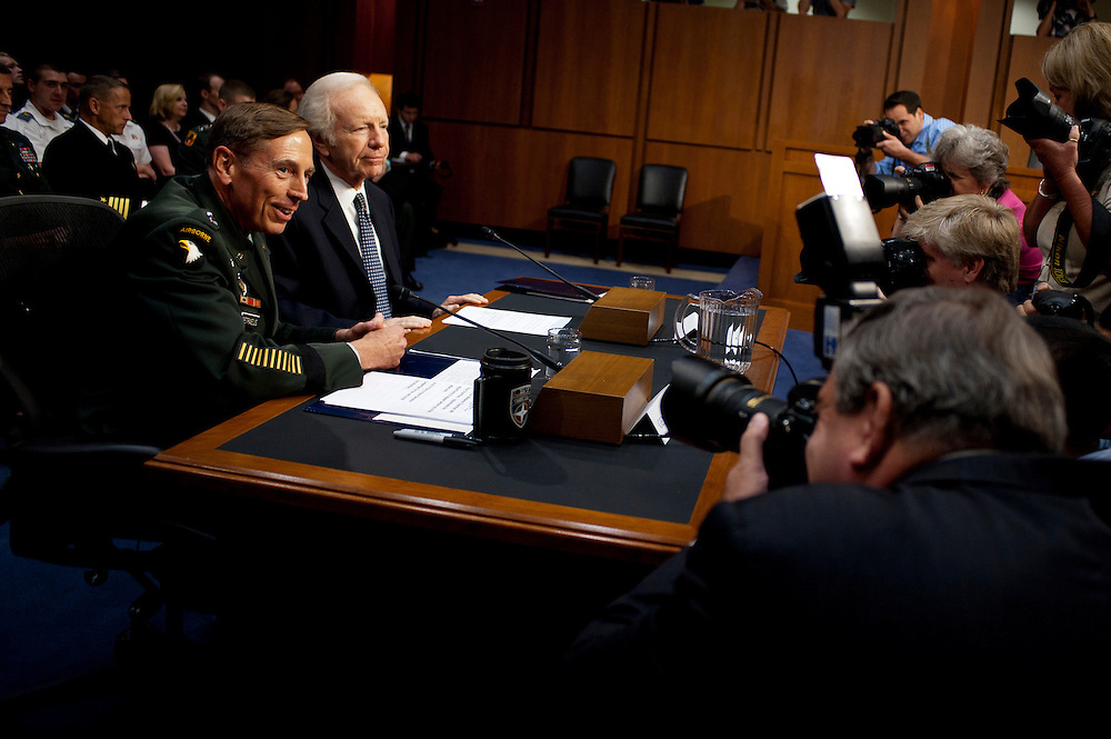 Gen. DAVID PETRAEUS appears before the Senate (Select) Intelligence Committee during a hearing on his nomination to be director of the Central Intelligence Agency. Senator JOE LIEBERMAN (I-CT) introduced PETRAEUS to the committee.