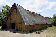 Neolithic hut reconstuction built from wood, daub & thatch at L'Archeodrome de Bourgogne.