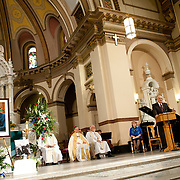 Senior Judge Justin I. Quackenbush speaks during a memorial service for former Speaker Tom Foley on Friday, November 1, 2013 at St. Aloysius Church in Spokane, Wash.