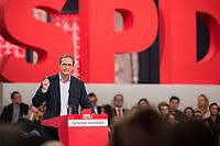 19 MAR 2017, BERLIN/GERMANY:<br /> Michael Mueller, SPD , Reg. Buergermeister Berlin, haelt eine Rede, a.o. Bundesparteitag, Arena Berlin<br /> IMAGE: 20170319-01-005<br /> KEYWORDS: party congress, social democratic party, speech, Michael M&uuml;ller