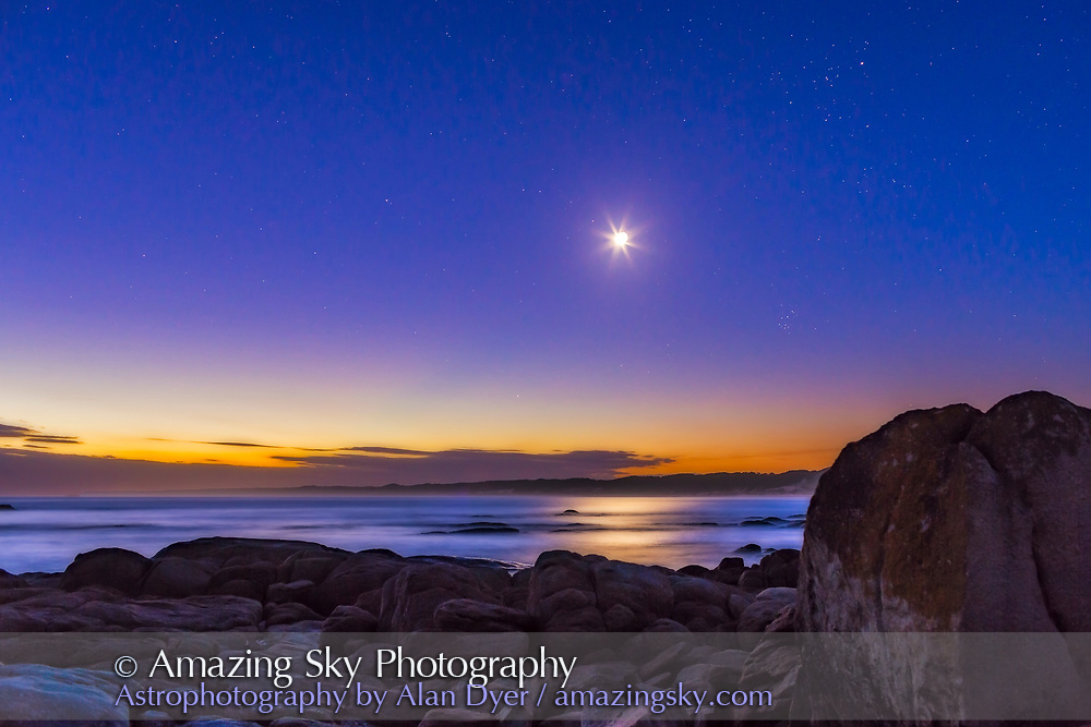 The waxing crescent Moon in deep evening twilight with stars beginning to appear, with the Moon in Taurus above the Pleiades cluster at right and below the Hyades and Aldebaran above. This was March 31, 2017 from Cape Conran, West Cape area, on the Gippsland Coast of Victoria, Australia. The Moon looks turned around from what we are used to seeing it in the northern hemisphere in the evening sky. <br /> <br /> This is a stack of 8 exposures, mean combined to smooth noise, for the ground and one exposure for the sky. An added Orton Effect gaussian blur layer adds the dreamy soft-focus effect for the ground. Taken as part of a 700-frame time-lapse sequence.