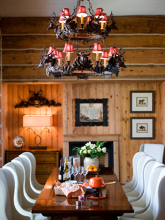 Dining room set for Fondue in Yellowstone Club cabin