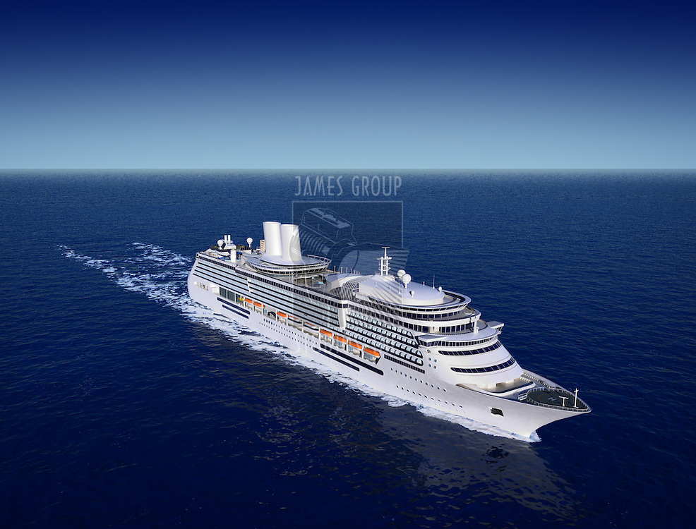 luxury white cruise ship shot from air on a clear day with calm seas and blue sky