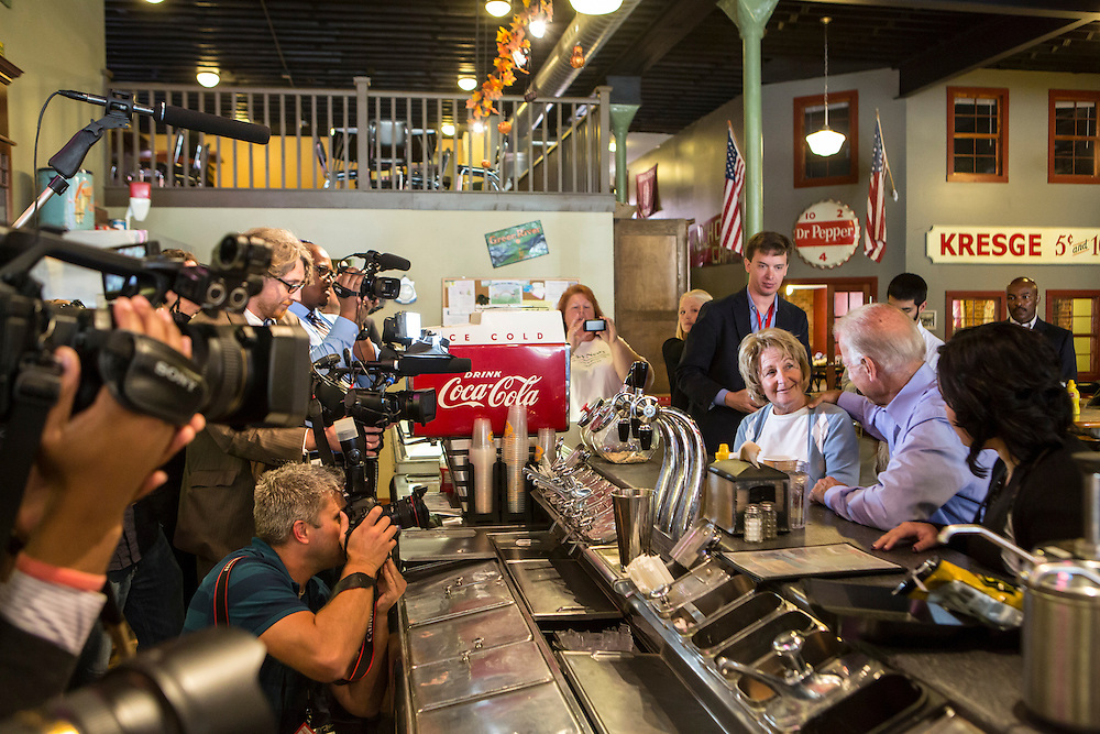 Vice President Joe Biden makes an unscheduled stop at Smokey Row Coffee during a two-day campaign swing through Iowa on Tuesday, September 18, 2012 in Oskaloosa, IA.