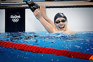 Katie Ledecky of USA celebrates winning the womens 200m Freestyle Final race of the Rio 2016 Olympic Games Swimming events at Olympic Aquatics Stadium at the Olympic Park in Rio de Janeiro, Brazil, 09 August ROBIN UTRECHT