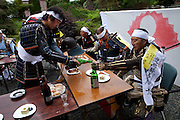 Drinking sake at the house of Samurai Taisho of Minami Soma during Soma Nomaoi festival. Sake is offered many times during the festival as an importand element.
