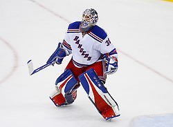 April 9, 2008; Newark, NJ, USA;  New York Rangers goalie Henrik Lundqvist (30) celebrates after game 1 of the Eastern Conference Quarterfinal playoffs at the Prudential Center in Newark, NJ.  The Rangers defeated the Devils 4-1 to take a 1-0 lead in the best of 7 series.