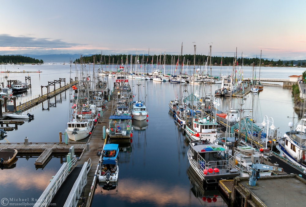 Fishing boats docked at Nanaimo Harbour in Nanaimo, British Columbia, Canada