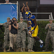 Delaware Wide Receiver Michael Johnson (17) celebrates in the end zone after scoring on a 19 yard reception during a Week 1 NCAA football game against West Chester. ..#15 Delaware defeated West Chester 41-21 in their home opener at Delaware Stadium Thursday Aug. 30, 2012 in Newark Delaware...Delaware will return home Sept. 8, 2012 at 3:30pm for a showdown with interstate Rival Delaware State in the Route 1 Rivalry Bowl at Delaware Stadium.