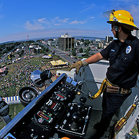 The annual Fourth of July Parade culminates in at the Park Strip where the Anchorage fire Department offers a bird's-eye of the revelers.