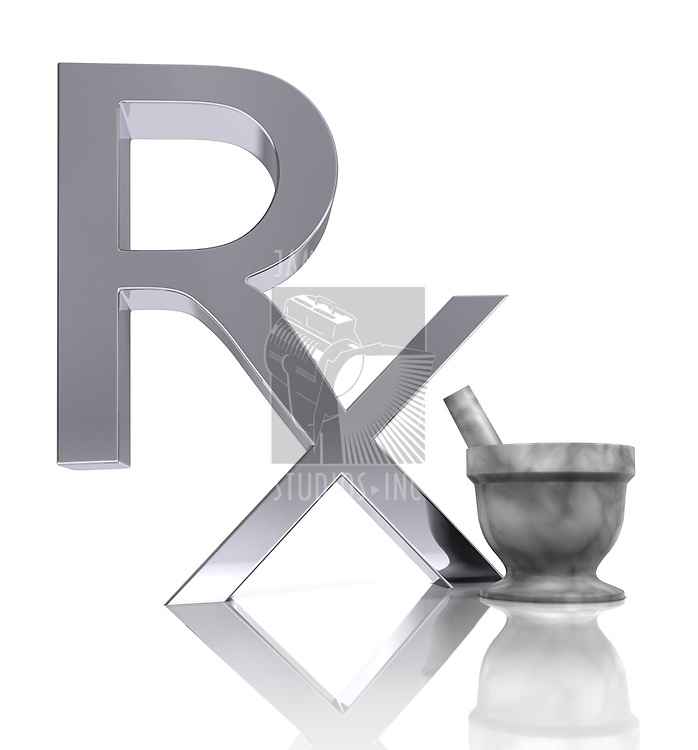 A chromed metal Medical Rx, Motar & pestle on a clean reflective surface