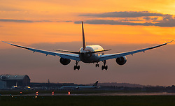 London Heathrow, September 19th 2015. As the sun sets on Heathrow Airport's Runway 27R, a Boeing 787 prepares to land.