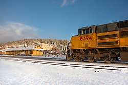 """Train in Snowy Truckee"" - Photograph of a train in snowy Downtown Truckee, California."