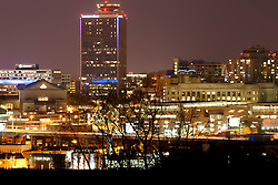 Crown Center area of Kansas City Missouri at night.