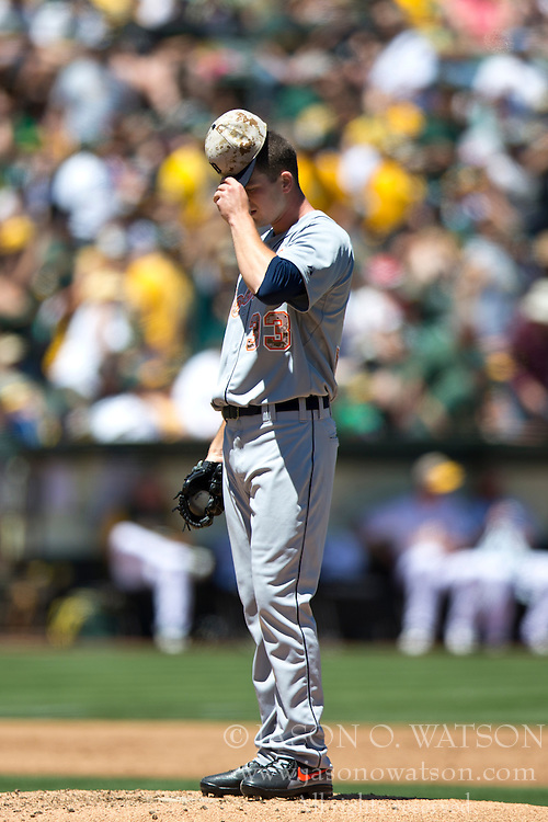 OAKLAND, CA - MAY 26:  Drew Smyly #33 of the Detroit Tigers stands on the pitchers mound after giving up two home runs against the Oakland Athletics during the second inning at O.co Coliseum on May 26, 2014 in Oakland, California. The Oakland Athletics defeated the Detroit Tigers 10-0.  (Photo by Jason O. Watson/Getty Images) *** Local Caption *** Drew Smyly