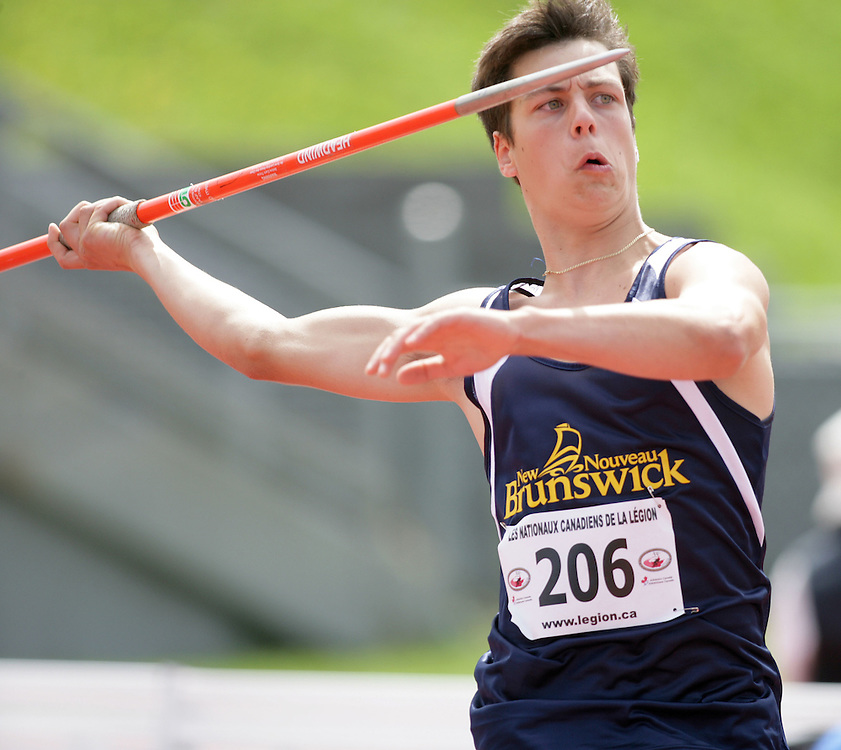 (Sherbrooke, Quebec -- 9 Aug 2009)  Jean-Denis Caissie of New Brunswick threw to fourth place (44.30m) in boys under-15 javelin final at the 2009 Royal Canadian Legion National Youth track and field championships. Photograph copyright Sean Burges / Mundo Sport Images  2009.