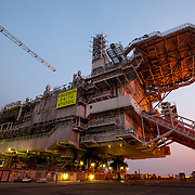 Statoil's Valemon Topside is loaded for shipment at the Samsung Shipyard on Geoje Island in South Korea on Sunday, June 1, 2014. (Ben Weller/AP/Statoil)