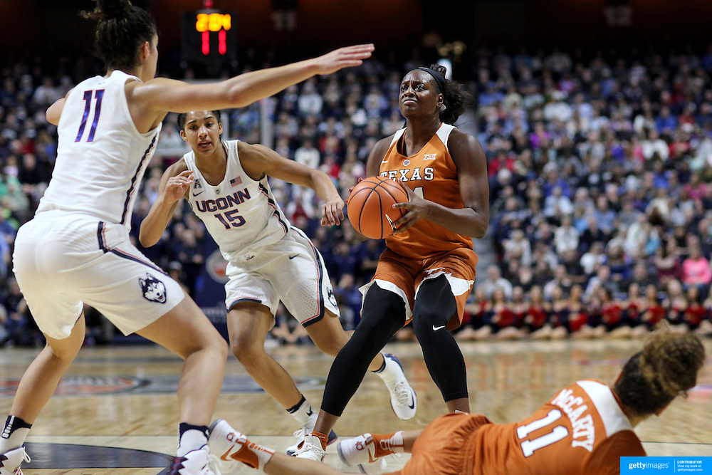 UNCASVILLE, CONNECTICUT- DECEMBER 4:  Joyner Holmes #24 of the Texas Longhorns defended by Kia Nurse #11 of the Connecticut Huskies during the UConn Huskies Vs Texas Longhorns, NCAA Women's Basketball game in the Jimmy V Classic on December 4th, 2016 at the Mohegan Sun Arena, Uncasville, Connecticut. (Photo by Tim Clayton/Corbis via Getty Images)