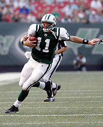Aug 14, 2009; East Rutherford, NJ, USA;   New York Jets quarterback Kellen Clemens (11) runs for a first down during the first half at Giants Stadium.