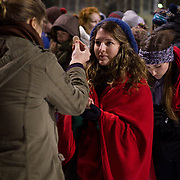 Students celebrate midnight mass at Mulligan Field on National Gonzaga Day. (Photo by Ryan Sullivan)
