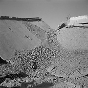 A collapsed roof that was part of a building adjacent to the main building at Tarnak Farms, the al Qaeda base, training camp and pre 9/11 al Qaeda headquarters in Kandahar, Afghanistan which served as a home to Osama Bin Laden and numerous al Qaeda fighters located outside Kandahar City. It is believed that this base was where the plan for the 9/11 attacks originated, as a result Tarnak Farms was heavily bombed by the United States after September 11, 2001. (Credit Image: © Louie Palu/ZUMA Press)..