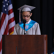 Conrad Schools of Science graduate Kevin Ellis addresses students and family during Conrad commencement exercises Saturday, June 06, 2015, at The Bob Carpenter Sports Convocation Center in Newark, Delaware.