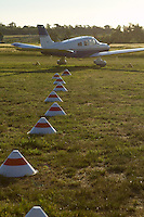 Marker cones and a Piper Archer III at Lilydale Airport