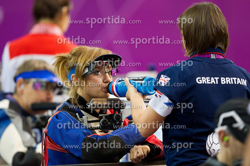 Georgina Callingham of Great Britain drinking during the Men's R5-10m Air Rifle Prone shooting Final during Day 4 of the Summer Paralympic Games London 2012 on September 1, 2012, in Royal Artillery Barracks, London, Great Britain. (Photo by Vid Ponikvar / Sportida.com)