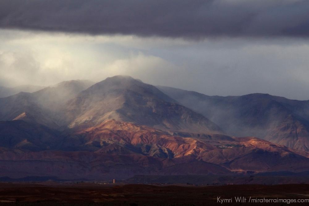 Africa, Morocco, Skoura. Desert Sandstorm reaches mountain foothills in Morocco.