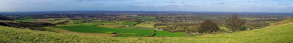 A view from the South Downs near Ditchling Beacon in Sussex, looking northwards over the Sussex Weald.
