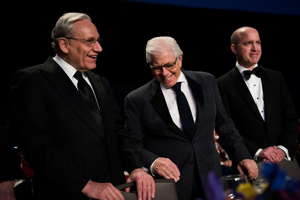 Bob Woodward and Leonard Bernstein chat on stage before the start of the White House Correspondents' Dinner in Washington, D.C. on April 29, 2017. CREDIT: Mark Kauzlarich for CNN